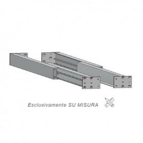 Guida in alluminio duplice estrazione misure 500-3000 mm. piastra 710 mm.