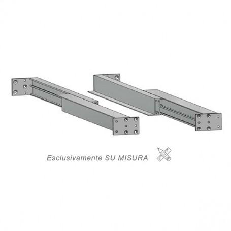 Guida in alluminio duplice estrazione misure 500-3000 mm. piastra 910 mm.
