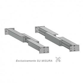 Guida in alluminio doppia apertura laterale misure 500-3000 mm. piastra 710 mm.