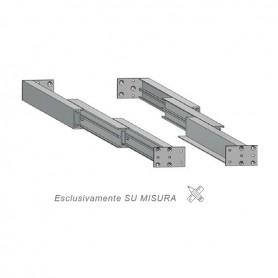Guida in alluminio triplice estrazione misure 500-3000 mm. piastra 102 mm.