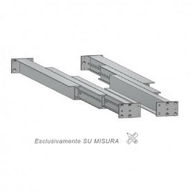 Guida in alluminio triplice estrazione misure 500-3000 mm. piastra 122 mm.