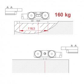 Kit per anta scorrevole a scomparsa 160 Kg.