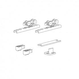 Kit per porta scorrevole con fermi ammortizzati portata 30 Kg con staffa a SCOMPARSA