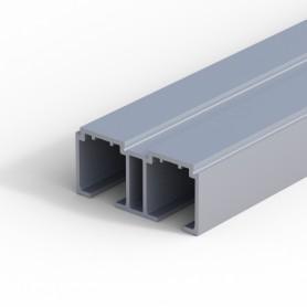 Binario superiore doppio in alluminio anodizzato argento mm.6000