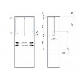 Saliscendi per armadio Kg.10  Mod. 3T supporti bianchi, tubo cromato