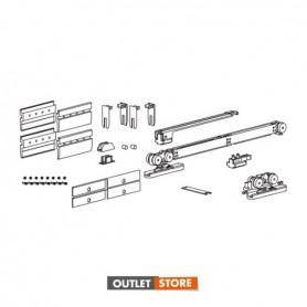 """kit """"vetro 73"""" per porta scorrevole in vetro spessore 10-10.7 mm portata 100 Kg con un ammortizzatore ed un fermo standard"""
