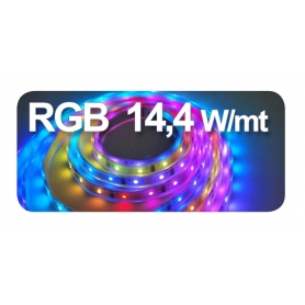 STRIP LED adesivo 5050 10X5000 mm 14,4W 5 mt 24VDC IP65 3000°K