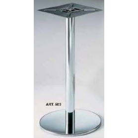 Basamento in acciaio diametro 400x60 mm h 730 mm nichel satinato