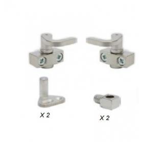 Kit completo acciaio serratura asta rotante nichelato a pressione 2 K02+2K04+2K0304+2K05+2K06