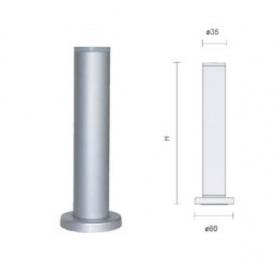 Piedino diametro 35 mm senza flangia h 130 mm regolabile alluminio