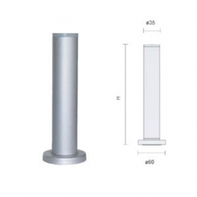 Piedino diametro 35 mm senza flangia h 120 mm regolabile alluminio