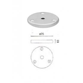 Flangia di fissaggio diametro 75 mm con foro m 8 mm verniciato alluminio