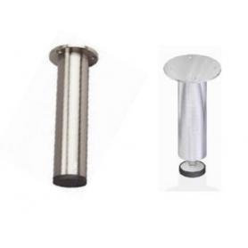 Piedino diametro 30 mm con flangia diametro 60 mm h 100 mm regolabile inox satinato