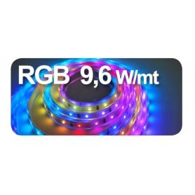 STRIP LED adesivo 3838 5X5000 mm. 9,6W/ 5 mt. 24VDC IP20 RGB