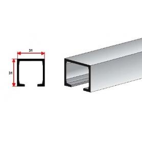 Binario superiore alluminio 31x31 mm. barre 3 mt.