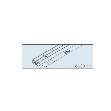 Dual top track EKU-CLIPO 16 alummino anodizato lunghezza 2500 mm