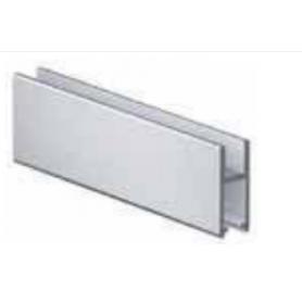 Profilo scorrevole porta vetro argento lunghezza 2000 mm.