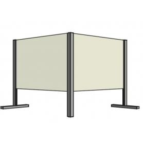Barriera di Protezione ad angolo 90° in vetro/alluminio per Contenimento Batterico 80x80x30 cm - Covid19