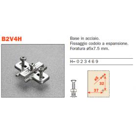 B2V4H09/17 - Base stampata per cerniera con codoli diametro 5 mm. h. 0 mm.