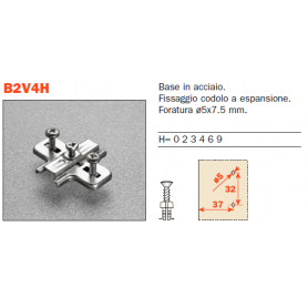 Base stampata per cerniera con codoli diametro 5 mm. h. 0 mm.
