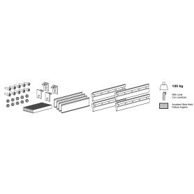 Kit pinze da 200 mm per vetro spessore 12-12.7 mm max. 120 Kg.