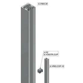 """Profilo Verticale 30x30 mm """"SKUDO GLASS 6"""" 3 mt. per Schermi Trasparenti Parafiato - Covid19"""