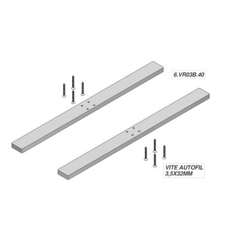 """Coppia Base alluminio 30x20x400 mm """"SKUDO GLASS 6"""" per Schermi Trasparenti Parafiato - Covid19"""