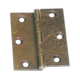Cerniera a libro mezza zanca in ottone bronzato 60x50 mm.
