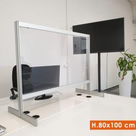 Parete Divisoria H.80x100cm protettiva Trasparente Autoportante - Covid19