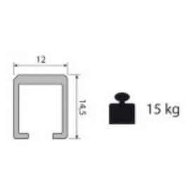 Binario superiore alluminio forato 14,5x12x3000 mm.