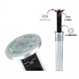 Multipresa Verticale Estraibile Automatica LIFTBOX INDUCTION alluminio
