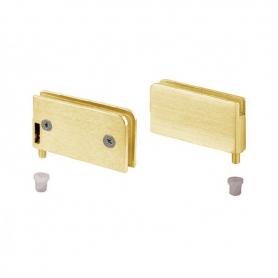 Cerniera in coppia a perno per cristallo 26x56 mm. oro satinato spessore vetro 6 mm.