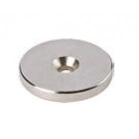 Bottone magnetico NEODIMIO diametro 30X3 mm. nichelato foro diametro 42 mm.