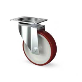 Ruota piroettante alta portata diametro 80 mm. rossa