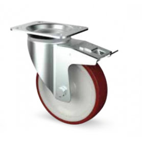 Ruota piroettante alta portata con freno diametro 80 mm. rossa