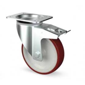 Ruota piroettante alta portata con freno diametro 100 mm. rossa