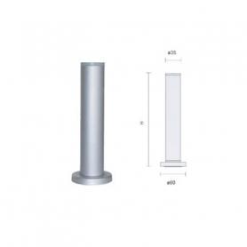 Piedino diametro 35 mm senza flangia h 100 mm regolabile alluminio