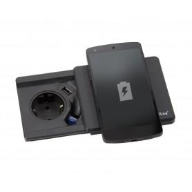 PRESA SQUARE80 NERO SCHUKP + USB + RICARICA WIRELESS