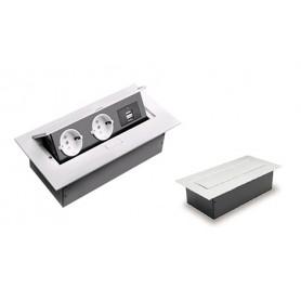 MULTIPRESA AD INCASSO C/SPORTELLO 2 SCHUKO+ 2 USB    BIANCO
