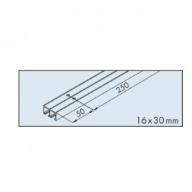 Dual top track EKU-CLIPO 16, aluminium, anodized L3500 mm