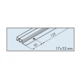 Dual top track EKU-CLIPO 16, aluminium, pre-drilled anodized L3500 mm