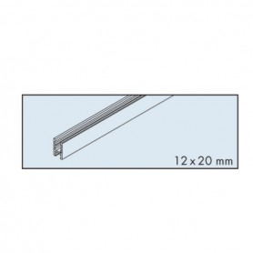 Glass fixing profile EKU-CLIPO 16 aluminium for glueing L3500 mm