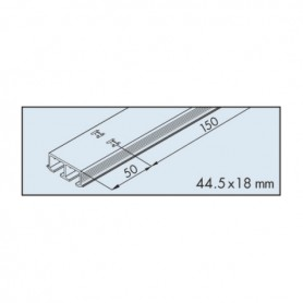 Dual top track EKU-CLIPO 16, aluminium, anodized L3500 mm